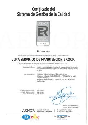 Certificado Ulma ISO 9001